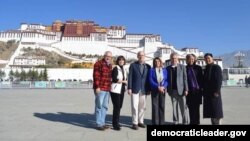 Leader Pelosi and Members of the Congressional Delegation in front of the Potala Palace in Lhasa