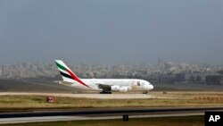 A double-decker Airbus A380 plane lands at the Rafik Hariri International Airport in Beirut, Lebanon, Thursday, March. 29, 2018.