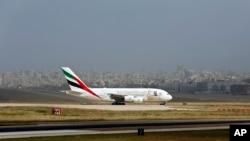A double-decker Airbus A380 plane lands at the Rafik Hariri International Airport in Beirut, Lebanon, Thursday, March. 29, 2018.