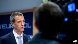 Trưởng cơ quan Europol Rob Wainwright trả lời câu hỏi sau một buổi họp báo ở The Hague, Hà Lan, 24/9/2014.