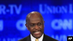 Businessman Herman Cain speaks during the first New Hampshire Republican presidential debate in Manchester, N.H., June 13, 2011.
