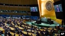 Presiden AS Joe Biden memberikan sambutan pada pembukaan Sidang ke-76 Majelis Umum PBB di New York, 21 September 2021.(AP Photo/Evan Vucci)