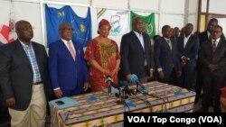 Les principaux partis de l'opposition ont, dans une déclaration conjointe, exigé un audit sur le nettoyage du fichier électoral que vient d'effectuer la Commission électorale nationale indépendante (Céni), Kinshasa, 11 avril 2018. (VOA/Top Congo)
