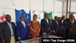 Les responsables des partis de l'opposition réunis à Kinshasa, 11 avril 2018. (VOA/Top Congo)