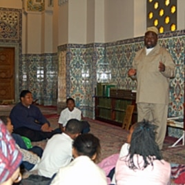 Students from Martin Luther King Elementary School visit the Islamic Center in Washington, D.C. with staffers from the Saudi Embassy.