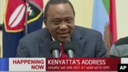FILE - Kenya's President Uhuru Kenyatta speaks to the nation in this image taken from TV, Sept. 1, 2017.