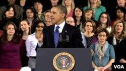 Presiden Obama memberikan pidato mengenai pentingnya pendidikan pra-TK berkualitas untuk semua anak Amerika di Decatur Georgia, Kamis (14/2).