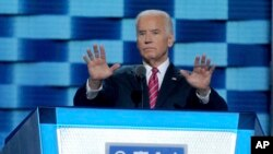 FILE - Vice President Joe Biden during the Democratic National Convention in Philadelphia, July 27, 2016.