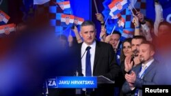 Tomislav Karamarko, president of the Croatian Democratic Union (HDZ), speaks after exit polls in Zagreb, Croatia, Nov. 9, 2015.