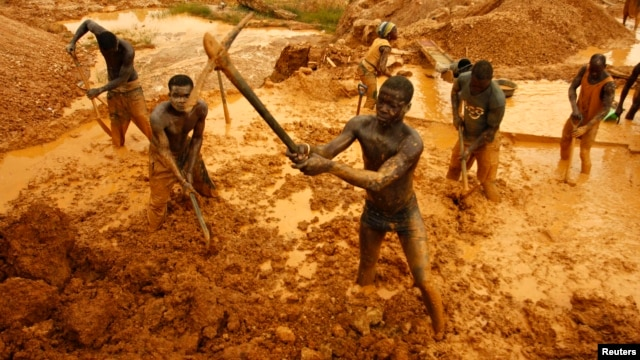 Artisanal miners dig for gold in an open-pit concession near Dunkwa, western Ghana, Feb. 15, 2011.