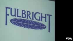 Fulbright logo shown during a slideshow presentation in Phnom Penh, on July 3, 2013.