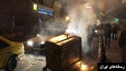 이란 카라지에서 벌어진 시위 현장.