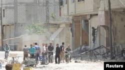敘利亞民眾在大馬士革區內