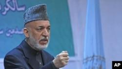 17일 카불에서 하미드 카르자이 아프가니스탄 대통령.