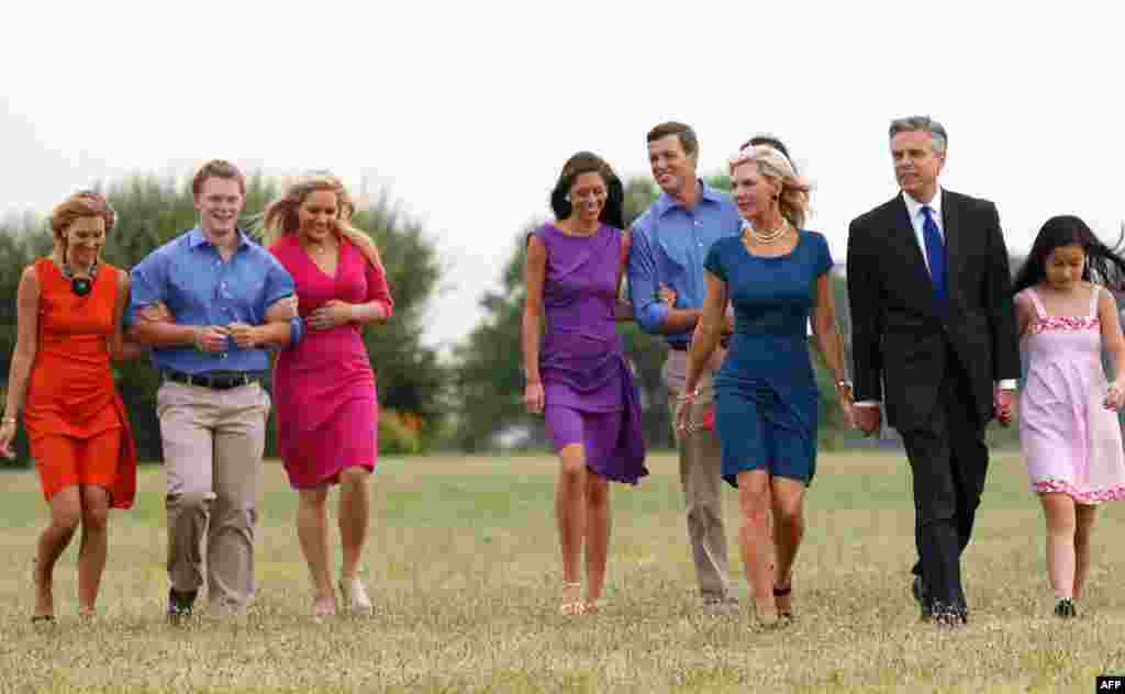 June 21: Former Utah Gov. Jon Huntsman, second from right, walks with his family at Liberty State Park in Jersey City, N.J., before announcing his bid for the 2012 Republican presidential nomination. (AP Photo/Mel Evans)