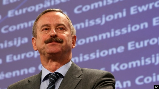 FILE - European Union Transport Commissioner Siim Kallas addresses news conference on air cargo security, Brussels.