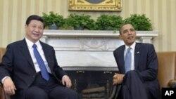 2012年2月14日中国国家副主席习近平访美时在白宫与美国总统奥巴马会晤