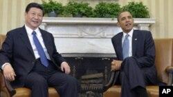 中国国家副主席习近平2012年2月14日在白宫与美国总统奥巴马会晤。