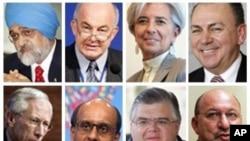 De possibles candidats à la sucession de DSK avec, de gauche à droite, Montek Singh Ahluwlia, Kemal Dervis, Christine Lagarde, Axel Weber. Bottom L-R: Stanley Fischer, Tharman Shanmugaratnam, Agustin Carstens, Trevor Manuel