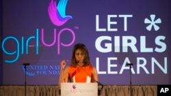 FILE - First lady Michelle Obama is seen speaking at the United Nations Foundation's Girl Up Leadership Summit, Tuesday, July 14, 2015, at the W Hotel in Washington.