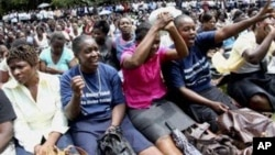 FILE: Striking civil servants attending a rally in Harare.