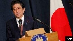 Thủ tướng Nhật Bản Shinzo Abe tại cuộc họp báo ở Amman, thủ đô Jordan ngày 1/5/2018.