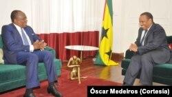 Le Premier ministre Patrice Trovoada et François Louncény Fall,représentant spécial du Secrétaire général de l'ONU, le 22 janvier 2018