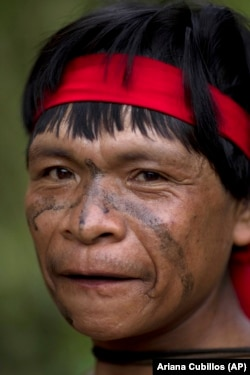 In this photo taken Sept. 7, 2012, a Yanomami Indian is seen at his village called Irotatheri in Venezuela's Amazon region. (AP Photo/Ariana Cubillos)