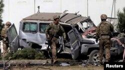 Quân đội Mỹ tại hiện trường một cuộc tấn công tự sát ở Kabul, ngày 16/9/2014.