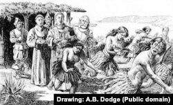 유럽에서온 가톨릭 선교사들을 두려워하는 미국 원주민들의 모습을 그린 삽화.