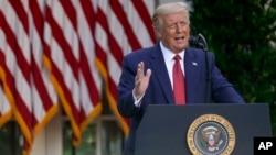 პრეზიდენტი ტრამპი თეთრი სახლის ვარდების ბაღში გამართულ პრესკონფერენციაზე
