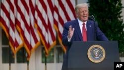 特朗普總統在美東時間週二下午5時半在白宮玫瑰園召開記者會