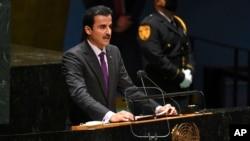 Emir Qatar Sheikh Tamim bin Hamad Al Thani berbicara di markas PBB, New York, Selasa (21/9).