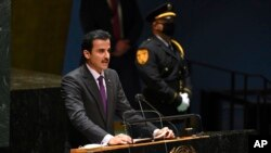 Sheikh Tamim bin Hamad al Thani, Amir, of Qatar addresses the 76th Session of the U.N. General Assembly at United Nations headquarters in New York, on Sept. 21, 2021.