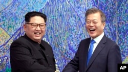 韩国总统文在寅和朝鲜领导人金正恩在板门店会面(2018年4月27日)
