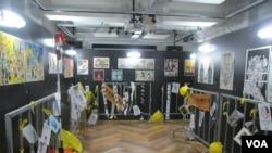 """""""反抗的画笔—香港反送中运动周年图像展""""目前正在台北展出"""