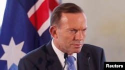 FILE - Australian Prime Minister Tony Abbott speaks at a news conference.