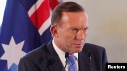 FILE - Australian Prime Minister Tony Abbott speaks at a news conference.