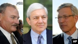 FILE – This combination photo shows, from left, former Penn State Vice President Gary Schultz, former Penn State President Graham Spanier and former Penn State athletic director Tim Curley.