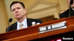 FILE: On March 20, 2017, FBI Director James Comey testifies before the House Intelligence Committee hearing into alleged Russian meddling in the 2016 U.S. election, on Capitol Hill in Washington.