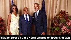 Michelle Obama, Luís Filipe Tavares e Barack Obama, em Nova Iorque, 2016