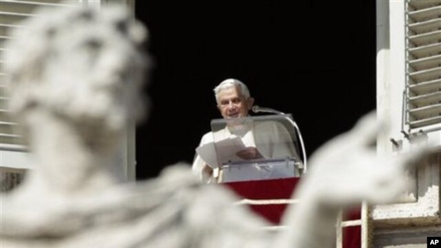 Pope Benedict XVI delivers his message from his studio window overlooking St. Peter's Square at the Vatican, March 6, 2011