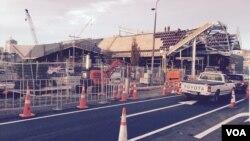 Công trình xây dựng trạm xe buýt mới ở trung tâm thành phố Christchurch, New Zealand.