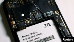 The inside of a ZTE smartphone is pictured in this illustration taken April 17, 2018.