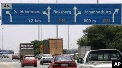 FILE - Traffic in Johannesburg.