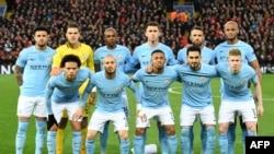 L'équipe de Manchester City avant le match de Ligue des Champions contre Liverpool, le 4 avril 2018