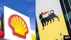 Une station essence Shell dans le centre de Londres le 17 janvier 2014 et le logo de la compagnie pétrolière et gazière italienne Eni à San Donato Milanese, près de Milan le 27 octobre 2017.