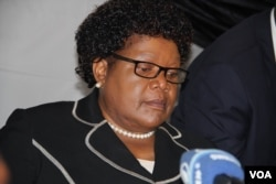 Former Vice President Joice Mujuru making a point Tuesday when she publicly announced that she is ready to tackle Zanu PF. (PhotoL Mavis Gama)