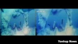 북한이 대남선전매체 우리민족끼리TV를 통해 27일 공개한 잠수함 발사 탄도미사일(SLBM) 발사 영상이 미국 SLBM 발사 장면을 가져다 편집한 것으로 보인다. 유튜브에 올라와있는 미국의 '트라이던트 1'의 발사 장면(왼쪽)과 북한이 공개한 발사 장면(오른쪽).