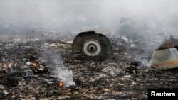 Hiện trường vụ máy bay Malaysia Airlines Boeing 777 gặp tai nạn gần khu định cư Grabovo ở vùng Donetsk, ngày 17/7/2014.